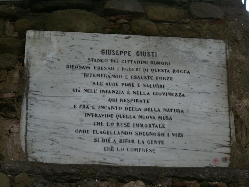 Targa memoria Giuseppe Giusti